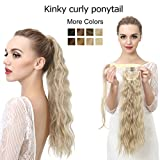 Clip In Ponytail Hair Extension Wrap Around Dark Brown Fake Synthetic Pony Tail Kinky Curly Curl...