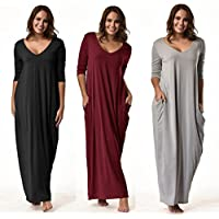 WensLTD Women casual 3/4 Sleeve Loose Dress V neck Split Beach Maxi Dresses (XL, Black)