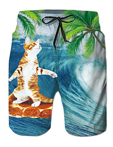 14db7c33709ab Leapparel 3D Patterned Men's Plus Size Swim Trunks Surfing Pizza CatTeal  Blue Quick Dry Vintage Retro Knee Length Sports Running Beach Shorts Daily  Casual ...