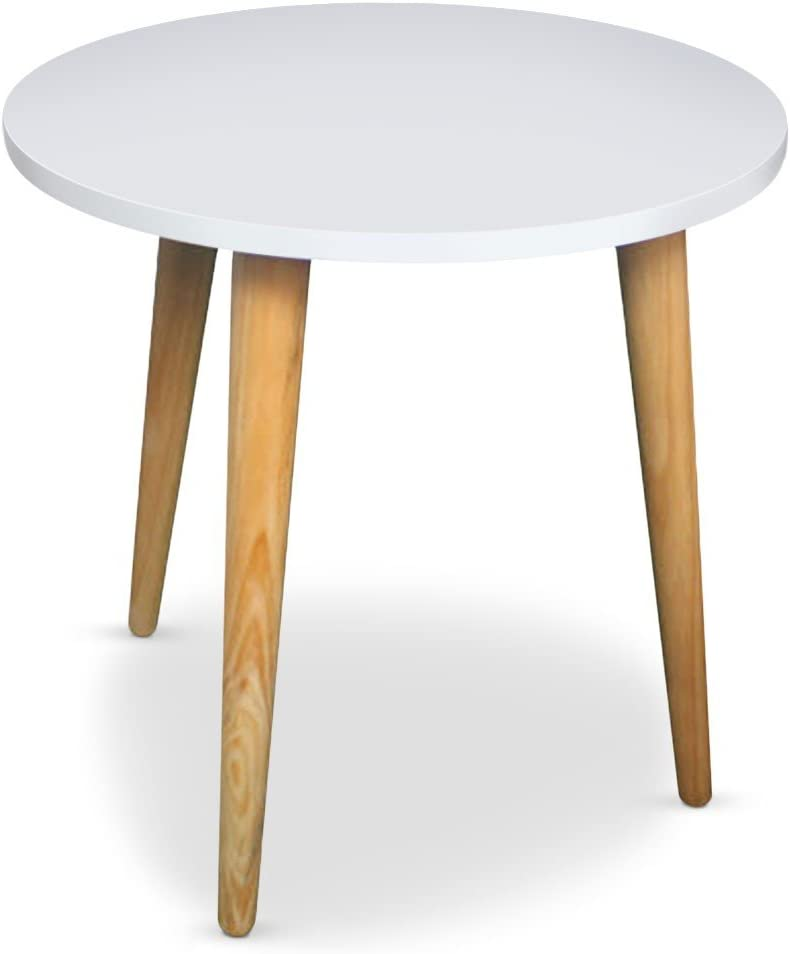 Menzzo Table Basse Ronde Style Scandinave Typik Blanc Amazon Fr