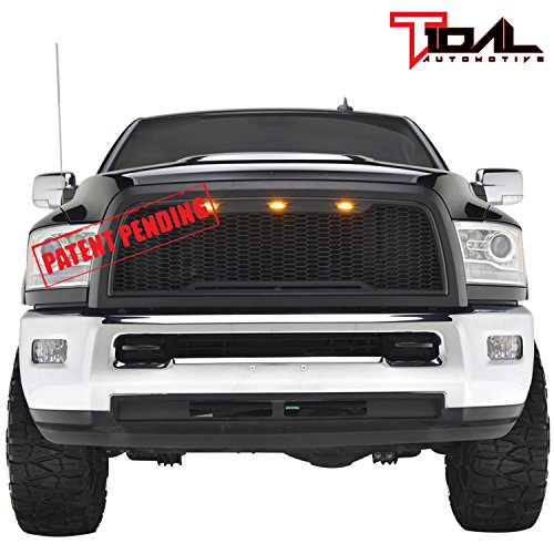 Tidal Replacement Ram ABS Upper Grille Front Hood Grill - Matte Black - With Amber LED Lights for 13-17 Dodge Ram 2500/3500 Heavy Duty ()