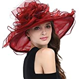 Janey&Rubbins Women's Wide Brim Hats S1706 for Kentucky Derby Day, Church, Wedding, Party and More Formal Occasion (Burgundy)