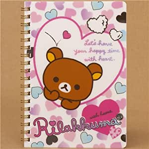 Cuaderno kawaii de anillas con Rilakkuma y corazones