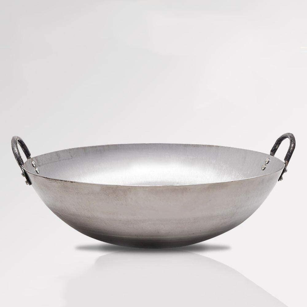ZPWSNH Double Ear Wok, Uncoated with Auxiliary Handle (Round Bottom), Gas Stove for Open Fire, Pot Mouth Diameter 60cm Wok (Color : B)