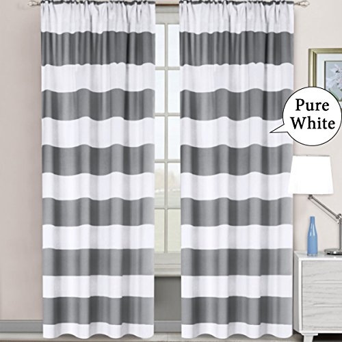 H.VERSAILTEX Gray Striped Rod Pocket Blackout Window Curtains Thermal Insulated Grey and Pure White Striped Curtains for Bedroom 52W X 84L 2 Panels