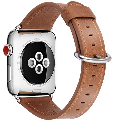 (JSGJMY Compatible for Iwatch Band 38mm 40mm S/M Women Genuine Leather Loop Replacement Strap Compatible for iWatch Series 4 (40mm) Series 3 2 1 (38mm),Camel with Silver Stainless Steel Clasp)