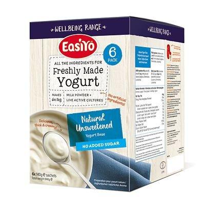 Easiyo Unsweetened Natural Yogurt Mix Sachets, 6 x 140g - Each Makes 1kg