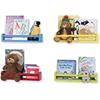 Kid's or Nursery Room Decorative Floating Book Shelves Wood Varying Colors 17 Inch Set of 4