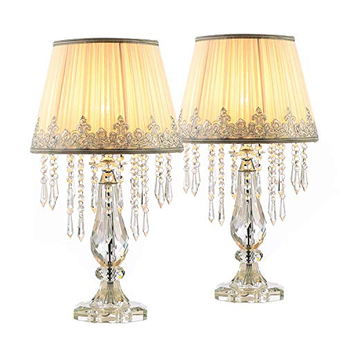Moooni Two Set of White Ruched Fabric Crystal Table Lamp Crystal Base Glam Bedside Desk Lamps Set of 2 for Bedroom Living Room Dimmable W 12.8 X H 22.8