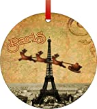 Vintage Santa and Sleigh Riding Over Big Eiffel Tower-Paris-Round Aluminum Christmas Ornament with a Red Satin Ribbon/Holiday Hanging Tree Ornament/Double-Sided Decoration/Great Unisex Holiday Gift!