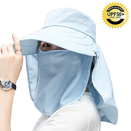 (Womens Foldable Flap Cover UPF 50+ UV Protective Wide Brim Bucket Sun Hat)