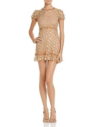 e7fc07d856 Amazon.com: For Love & Lemons Golden Garden Tulle Mini Dress (MD ...
