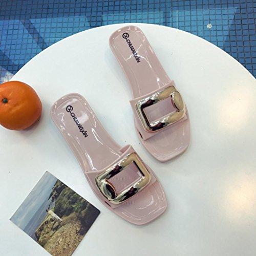 Digood Pantoufles Pour Les Femmes, Les Dames Adolescentes Carré Boucle Décor Ouvert Orteils Sandales Plates Chaussures De Bain Rose