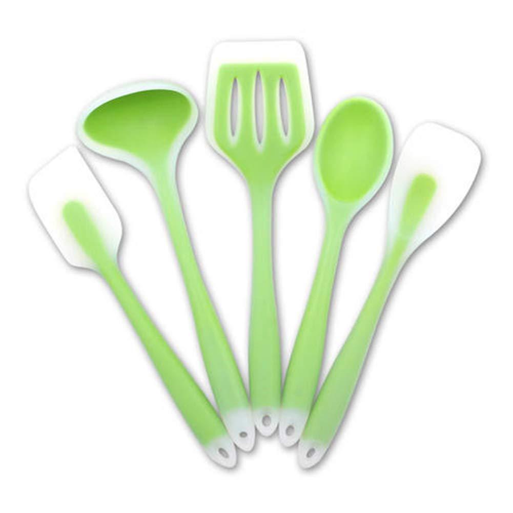 5Pcs/Set Translucent Silicone Non-stick Soup Spoon Spatula Drain Shovel Cookware Tools