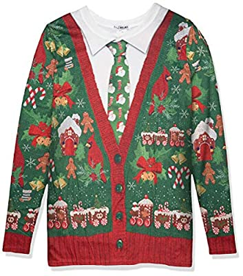 Faux Real Men's 3D Photo-Realistic Ugly Christmas Tattoo Sweater Long Sleeve T-Shirt