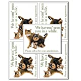 Laser Reminder Postcards, Veterinarian Appointment Reminder Postcards. 4 Cards Perforated for Tear-off at 4.25'' x 5.5'' on an 8.5'' x 11'' Sheet of 8 Pt Card Stock. (2500 cards)