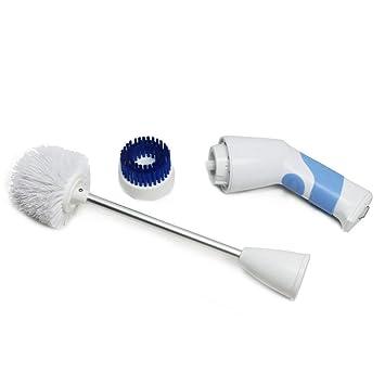 EVERTOP Cepillo de limpieza de inodoro eléctrico e inalámbrico, cepillo de retroceso con mango largo