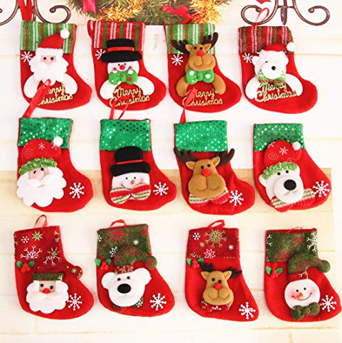 ESA Supplies Christmas Tree Stockings Decorations Ornaments and Candy Bags Gift Bags 12 PCS Different Styles Santa Claus, Snowman, Elk, and Pollar Bear Pattern