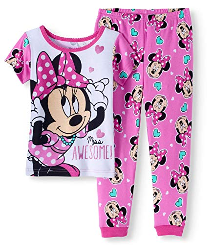 (Toddler Girls Minnie Mouse Miss Awesome Snug Fit Cotton Pajamas Size 2T (Pink/White Miss Awesome))