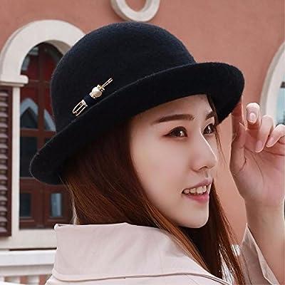 9731587b91afe RangYR Sombrero De Mujer Sra. Cap Gorras Sombreros De Invierno Gorras  Planas De Domo Que Prensan Pines Grandes Negros