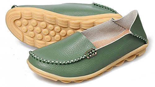 Fangsto Womens Cowhide Casual Slipper Loafers Moccasin Driving Shoes Flat Slip-Ons Army Green zP2U3p