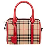 Burberry Women's Small Alchester in Horseferry Check Beige Red Trim