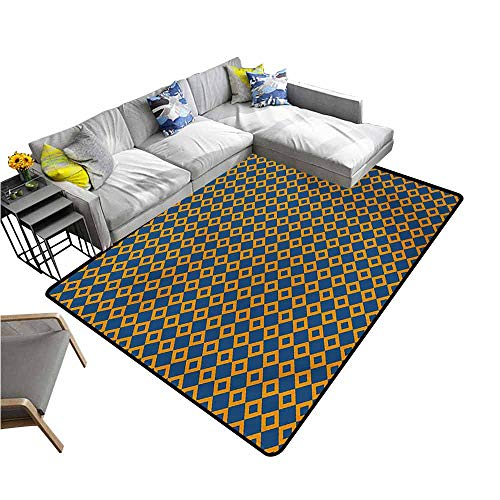 - Outdoor Floor Mats Vintage,Old Fashioned Classical Pattern with Small Squares Chain Mesh Net Simple Tile,Orange Dark Blue 80