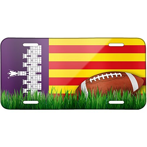 Football with Flag Mallorca region Spain Metal License Plate 6X12 Inch by Saniwa