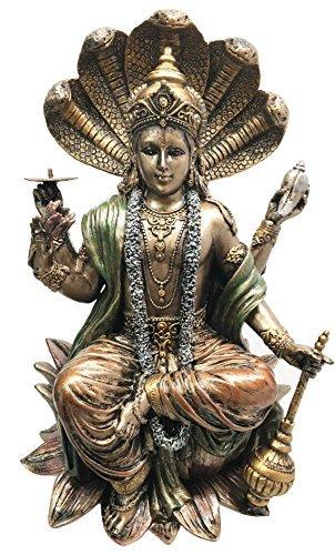 Cheap Ebros Enthroned Hindu God Vishnu Statue Narayana The Preserver and Protector Figurine Panchayatana Puja Supreme Deity Eastern Enlightenment Sculpture