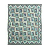 Patch Magic Twin Green Log Cabin Quilt, 65-Inch by 85-Inch