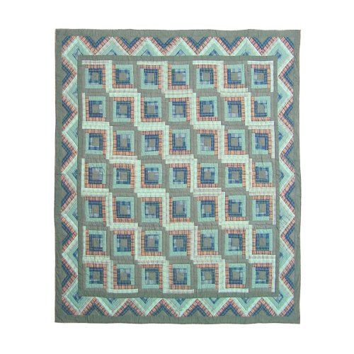Patch Magic Queen Green Log Cabin Quilt, 85-Inch by 95-Inch - Log Cabin Throw Quilt