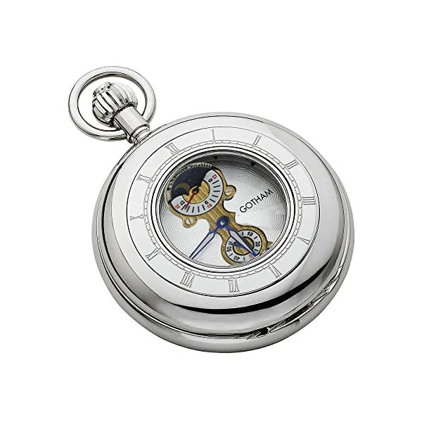 Gotham-Mens-Silver-Tone-Mechanical-Pocket-Watch-with-Desktop-Stand-GWC14053S-ST