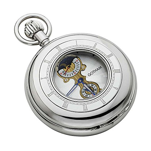 Gotham Men's Silver-Tone 17 Jewel Mechanical Sun/Moon 24 HR Movement Pocket Watch # GWC14053S