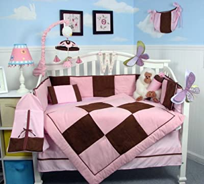 SoHo Pink and Brown Suede Baby Crib Nursery Bedding Set 13 pcs included Diaper Bag with Changing Pad & Bottle Case from SoHo Designs
