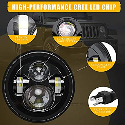 Aukmak 7inch Round LED Headlights For Jeep Wrangler JK TJ LJ CJ 1997 to 2020 DOT Approved Extremely Bright: Automotive