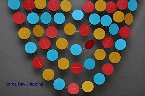 Birthday garland,Teal, red, gold yellow paper garland,Birthday decorations,Birthday party decor,Circus birthday decoration,Circle garland -