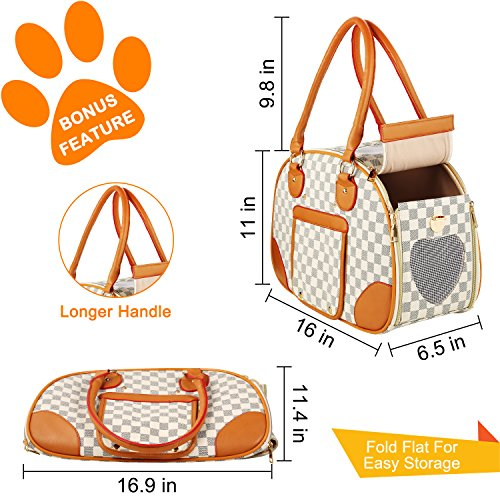 wot i Soft Sided Pet Carrier, Cat Carrier Dog Carrier Airline Approved Pet Carrier Suitable for Small Dogs and Cats, Medium Cats and Dogs, Puppy, Kittens, Small Animals, Luxury PU Leather Travel Bag by wot i (Image #2)