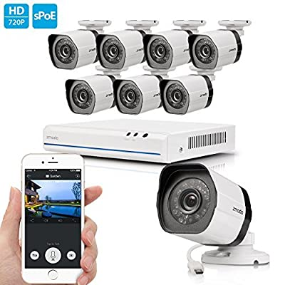 Zmodo 8 Channel 1080p HDMI NVR 8x720p HD Security Camera Smart PoE System (No Hard Drive)