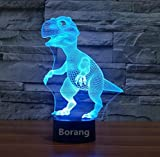 Borang Dinosaur Light 3D Night Light Touch Table Desk Lamp,Borang 7 Colors 3D Optical Illusion Lights with Acrylic Flat & ABS Base & USB Charger for Christmas Gifts