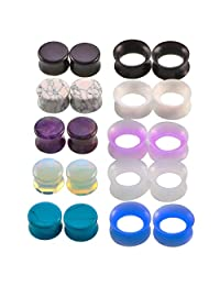IPINK-10Pairs 2g-5/8 Multiple Stone Silicone Double Flared Ear Plugs Expander Gauges