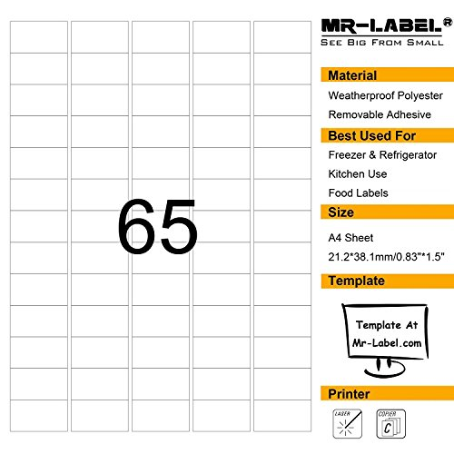 Mr-Label Waterproof Removable Adhesive Food Labels - Tear-resistant stickers for Kitchen use | Barcode Label - Laser Printer Only (Size: 23.238.1mm) (10 Sheets/ totally 650 Labels)