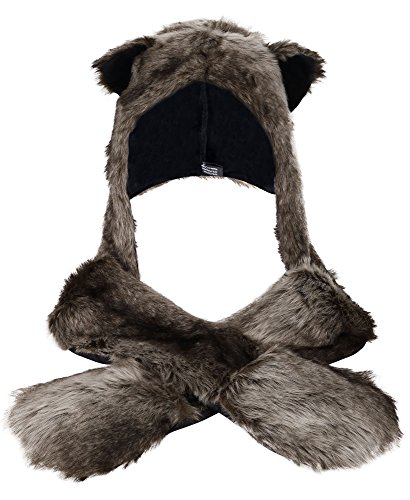 Anime Faux Animal Hood Hoods Mittens Gloves Scarf Spirit Paws Ears, Grey Wolf]()