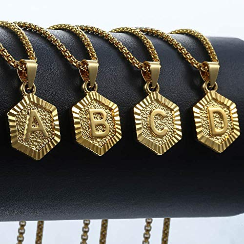 Hermah Gold Plated Charm Pendant Box Link Necklace Initital Capital Letter A-Z Mens Womens Pendant H - http://coolthings.us