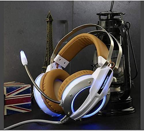 HNSYDS ヘッドセットステレオケーブルで有線ゲーミングヘッドセットホワイトブラウンステッチヘッドセット ゲーミングヘッドセット