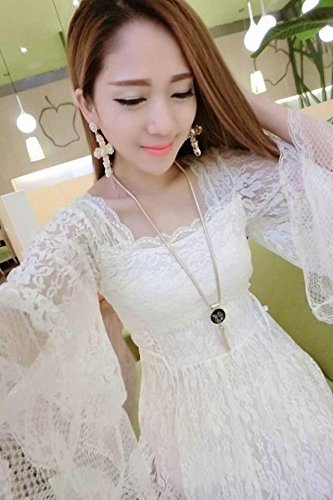 4485052b97f 2018 Spring and Autumn new fashion women s sexy nightclub Slim waist long- sleeved lace bottoming