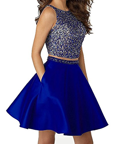 4f46b50291d5c LOVING HOUSE Sparkly Crstals 2 Piece Satin Prom Dresses Short Open Back  Homecoming Cocktail Dresses P012 Royal Blue 14