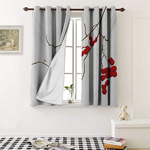 Rowan Decorative Curtains for Living Room Artistic Branch of Rowan Plant Covered with Snow Winter Season Christmas Tree Curtains Kids Room W72 x L72 Inch Red White Umber
