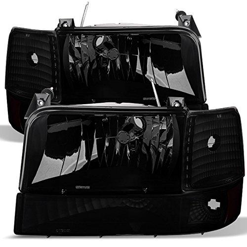 For Black Smoke 92-96 Bronco F150 F250 Headlights Replacement + Corner Bumper Signal Lamps 6pcs Set