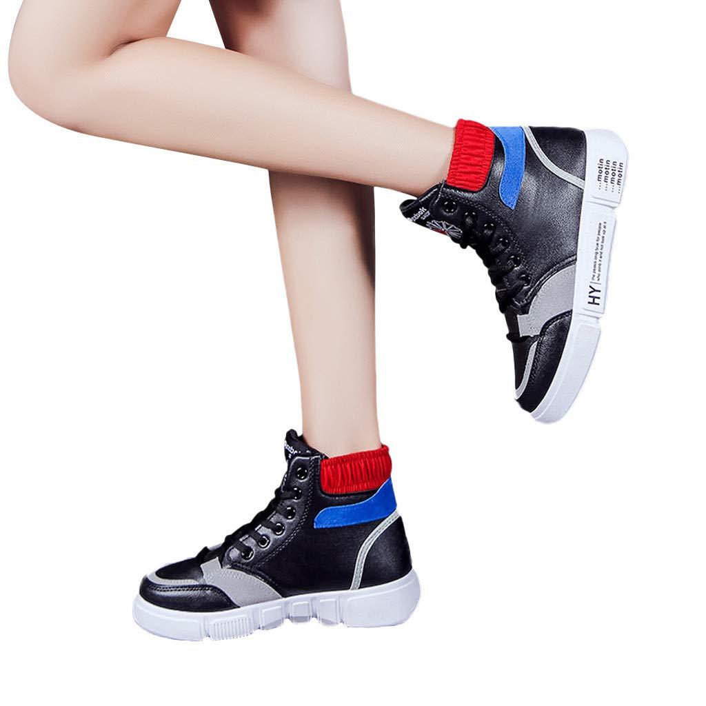 Porlous Plate-Forme Plate de Course pour Femmes de Loisir 2019 Baskets /à Lacets /à t/ête Ronde antid/érapante