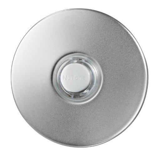 NuTone PB41LSN Wired Lighted Round Stucco Door Chime Push Button, Satin Nickel